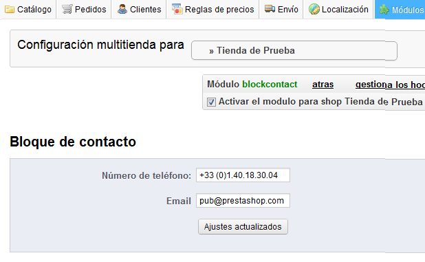 modificar bloque contacto prestashop