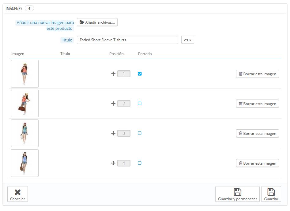 configurar imágenes producto prestashop