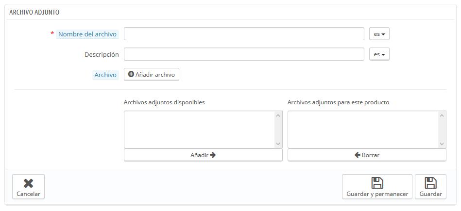 gestionar archivos adjuntos prestashop