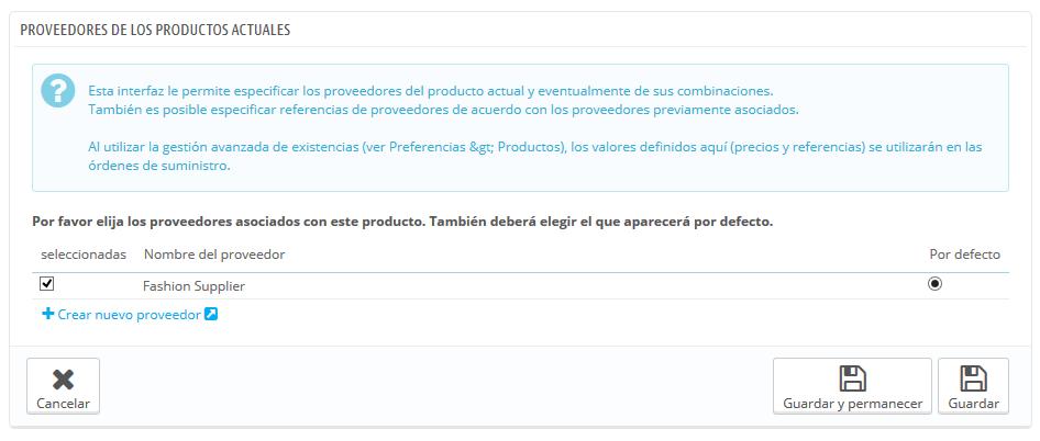 Proveedores de productos
